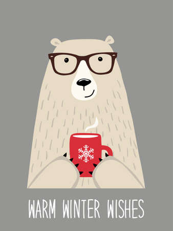 Illustration for Cute retro hand drawn Christmas card as funny Hipster Bear with Hot Cocoa and quote Warm Winter Wishes ideal as poster - Royalty Free Image