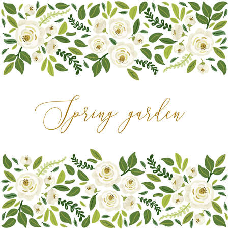 Photo pour Cute botanical theme floral background with bouquets of hand drawn rustic white roses flowers and green leaves branches, vector arrangements for greeting card, wedding invitation, spring garden design - image libre de droit
