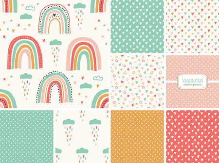 Illustration pour Cute set of scandinavian childish seamless pattern with trendy hand drawn rainbows, clouds, stars and hearts - image libre de droit