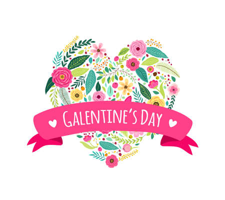 Illustration pour Cute feminine card with hand drawn flowers for girls friends celebrating valentines day, vector illustration - image libre de droit
