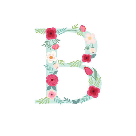 Illustration pour Alphabet letter B with flowers - image libre de droit