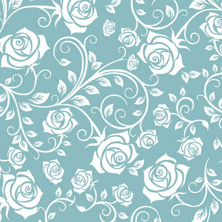 Photo for Floral seamless pattern. Ornamental design of rose, flower with swirl effect. A seamless wallpaper and background for fabric, textile and paper. - Royalty Free Image