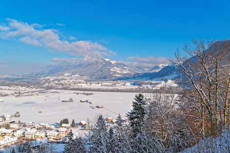 Beautiful winter landscape of Gruyere, province of Fribourg, Switzerland. It is an important tourist location in the upper valley of the Saane river and gives its name to the well-known Gruyere cheese