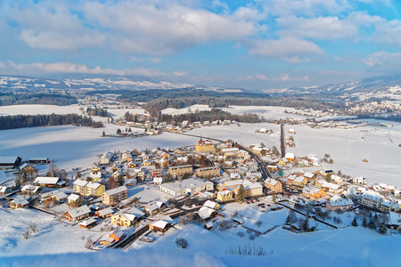 Winter landscape of Gruyeres, a famous agricultural and Gruyere cheese making area. Province of Fribourg, Switzerland