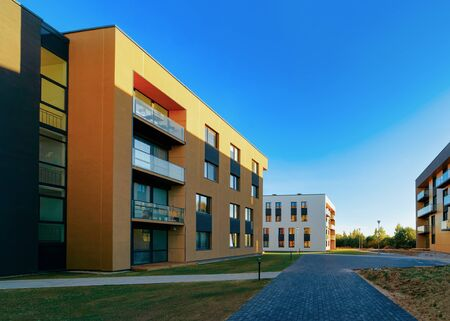 Photo for Residential Apartment homes facade architecture and outdoor facilities - Royalty Free Image