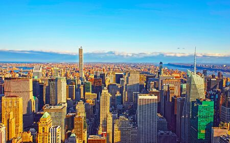 Photo for Aerial panoramic view to Downtown Manhattan and Lower Manhattan New York, USA. Skyline with skyscrapers. New Jersey City. American architecture building. Panorama of Metropolis NYC - Royalty Free Image