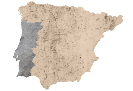 a map of iberian peninsula textured and isolated on white
