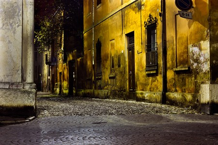 dark alley at night, dirty corner of street  in the old town