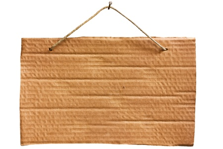 empty notice of cardboard sheet hanging with string and nail, blank signboard isolated