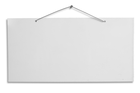 empty signboard, white blank lacquered aluminum sheet hanging with wire and nail, notice, announce, slab isolated, clipping path
