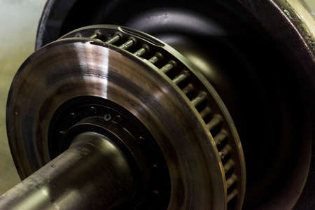 Foto per detail of a railway wheel which is called wheelset - Immagine Royalty Free