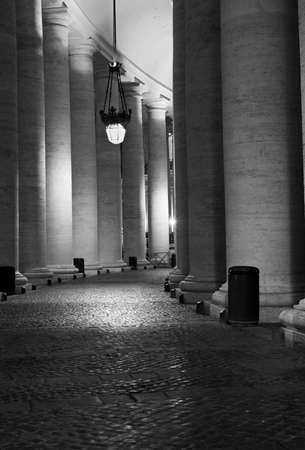 columns in the square of Saint Peter Basilica. Rome