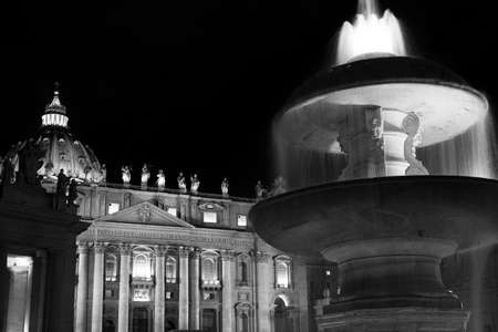 fountain in the square of Saint Peter Basilica. Rome