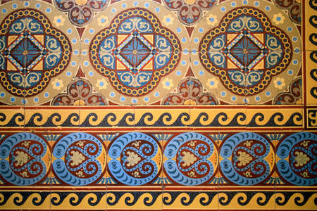 Photo for Samples of the famous Metlakh tiles, popular more than a hundred years ago. Pattern - Royalty Free Image