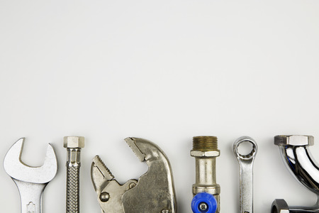 Photo for overhead of an essential tool kit for plumber - Royalty Free Image