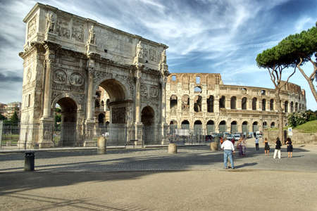 The Colosseum and The Arch of Titus in  Rome, hdr picture