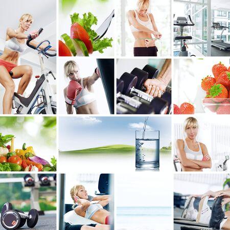 Foto de Healthy lifestyle  theme collage composed of different images - Imagen libre de derechos