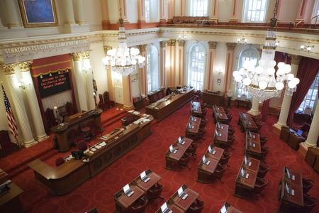 Panoramic view of Sacramento, California city hall interior