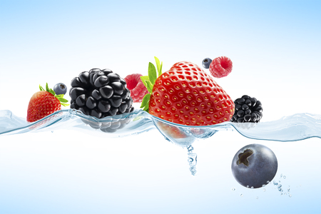 Photo for close up view of nice fresh berries on blue background - Royalty Free Image