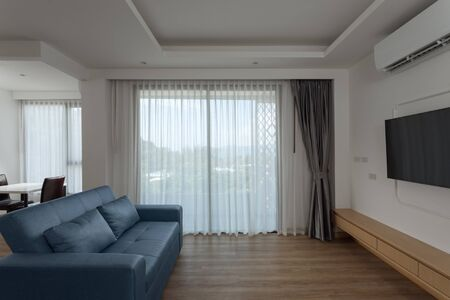 Photo for Panoramic view of nice white stylish modern living room - Royalty Free Image