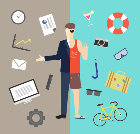 Work and life balance vector illustration