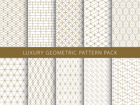 Ilustración de Luxury elegant geometric patterns pack. - Imagen libre de derechos