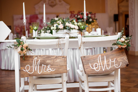 Mr. & Mrs. Sign on the chairの写真素材