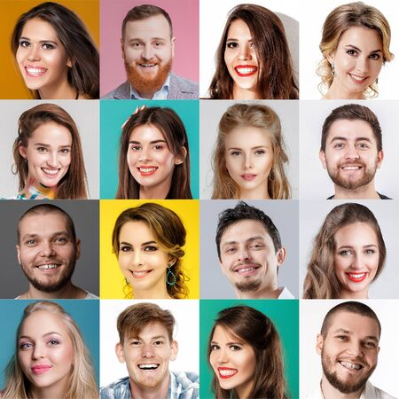 Photo for collage of happy faces of people. Happy men and women expressing different positive emotions. - Royalty Free Image
