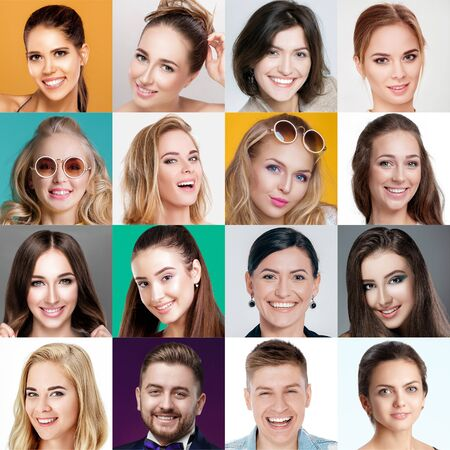 Photo for collage of happy smiling faces of people. Happy men and women expressing different positive emotions. Human emotions, facial expression concept. - Royalty Free Image