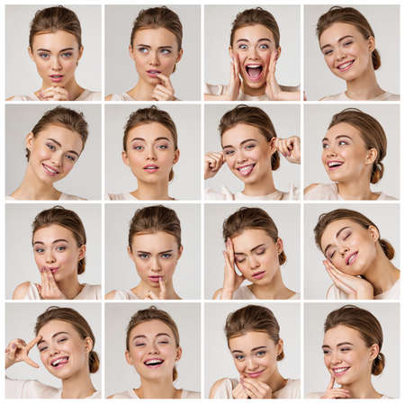 Photo pour collage of portraits of young beautiful woman with different emotions and facial expressions on gray background - image libre de droit