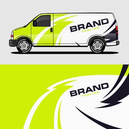 Ilustración de car livery lime green van wrap design wrapping sticker and decal design for corporate company branding vector - Imagen libre de derechos