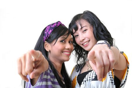 two cheerful girl