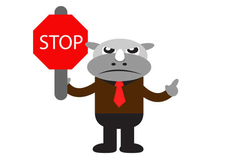 illutration cartoon character of Rhino Businessman in activity