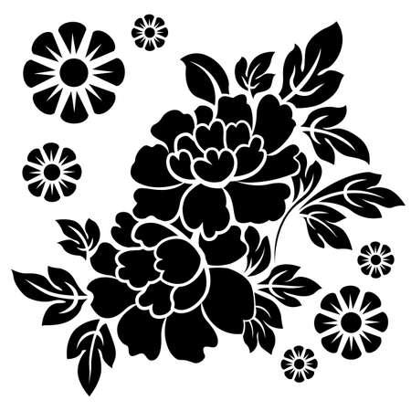Illustration pour Black silhouette of flowers. Vector illustration. - image libre de droit