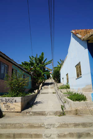Cayo Granma, Cuba - January 11, 2016: Typical scene of one of streets on the Island Cayo Granma, Cuba - Colorful architecture