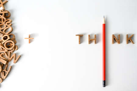 Foto de One  Pencil with word think leadership and uniqueness concept. Stand out from the crowd. Think outside the box. Dare to be different - Imagen libre de derechos