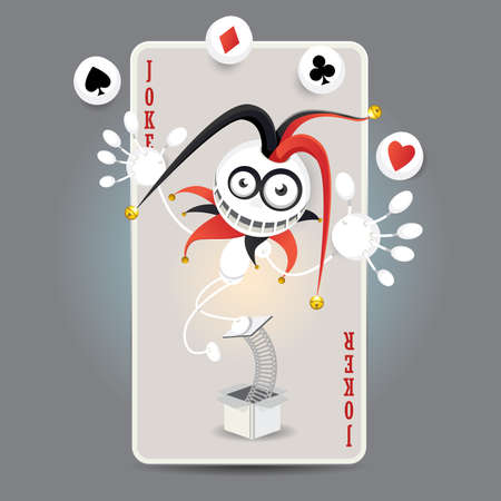 Joker Harlequin Make Juggling Performance With Spade, Club, Diamond, Heart Balls In Front Of Big Card