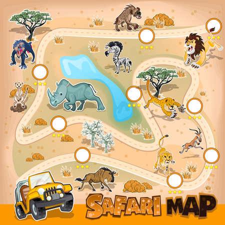 Ilustración de Africa Safari Map Wildlife - Imagen libre de derechos