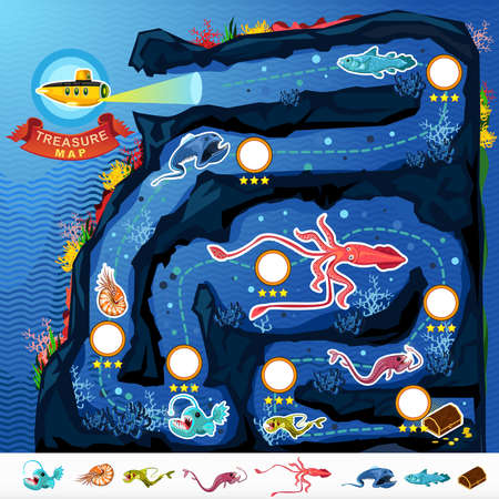 Deep Sea Exploration Treasure Game Map