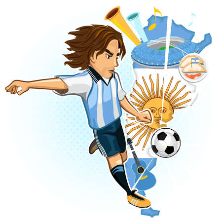 Argentine Argentina Soccer Cup Argentines Soccer Player Kick Ball With Background Of Map And Culture Of Argentina