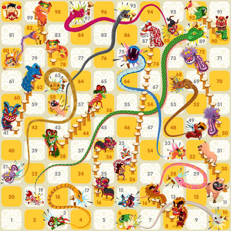Illustration pour Snake and Ladder Board Game Chinese New Year Vector - image libre de droit