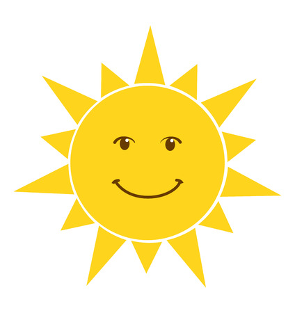 Illustration pour Happy smile sun icon vector illustration isolated on white background - image libre de droit