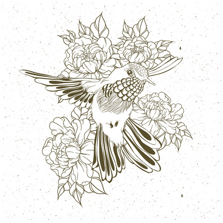 Hand drawn flying humming bird with peony flower. Vector illustration in line art style. T-shirt or tattoo designのイラスト素材