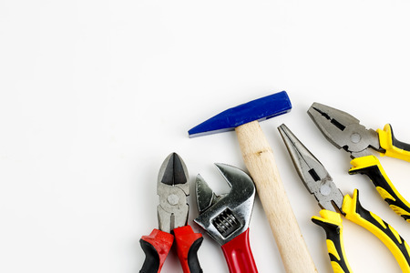 Photo for Set of tools, Many tools isolated on white background. - Royalty Free Image