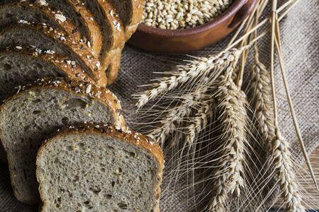 Foto für Fresh fragrant bread on the table. Food concept - Lizenzfreies Bild