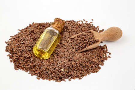Photo for Flax seeds and oil isolated on white background - Royalty Free Image