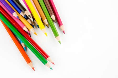 Foto de Color pencils isolated on the background. Close up. - Imagen libre de derechos