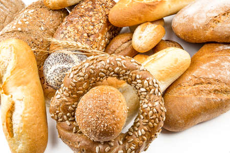 Photo for Assorted breads isolated on a white background. - Royalty Free Image