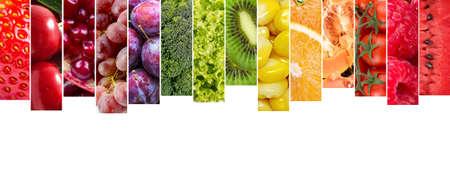 Foto für Fresh vegetables and fruits collage. Various vegetables and fruits background. - Lizenzfreies Bild