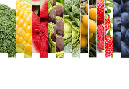Photo for Fresh vegetables and fruits collage. Various vegetables and fruits background. - Royalty Free Image